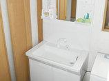 洗面リフォーム継ぎ目がなくふき掃除もかんたんな洗面台